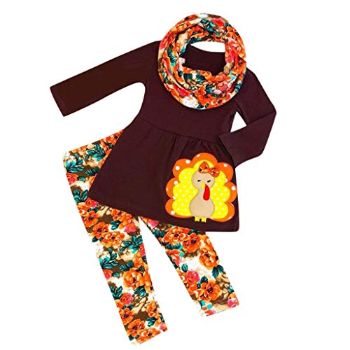 Cuteelf Mädchen Set Baby Truthahn T-Shirt Blumenhosen Thanksgiving Kostüm Set Kind Langarm Thanksgiving Truthahn Tops Hosen Blumenhaarband Set