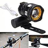 Wasserdicht LED Fahrradbeleuchtung ,OHQ USB Wiederaufladbare XML T6 LED Fahrrad Licht Vorne Radfahren Licht Kopf Lampe Aluminiumlegierung IP-65