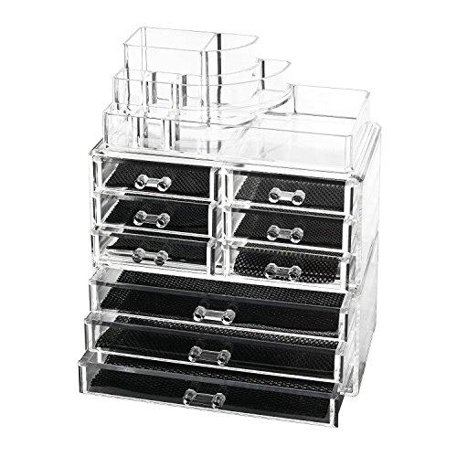 Discoball Acryl Drei DIY Abschnitten Kosmetik Aufbewahrung Case mit neun Schubladen Organizer Display Box, groß Mesh-schublade-storage Box