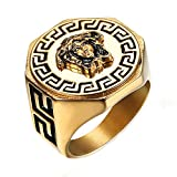 Budazo Männer Griechische Mythologie Kim Meduse Benutzerbild Titan Stahl Ringe,Größe 59(18.8)
