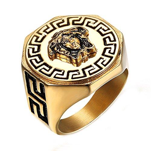 Budazo Männer Griechische Mythologie Kim Meduse Benutzerbild Titan Stahl Ringe,Größe 62(19.7)