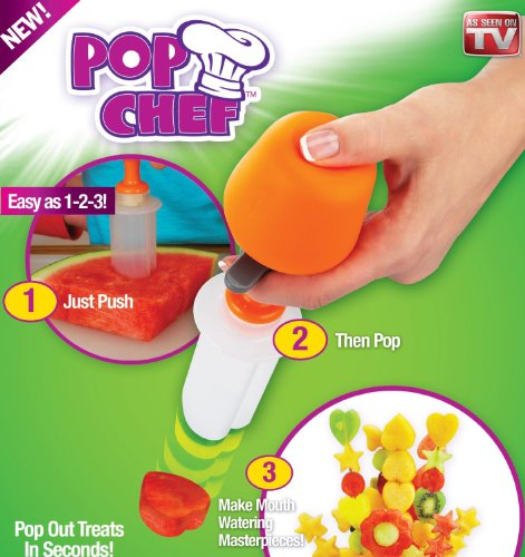 DFS's premium POP CHEF - JUST PUSH, POP AND CREATE. Pop Chef Fruit Cutter Food Salad Decorator Create Shapes In Seconds Party Kids.  available at amazon for Rs.199