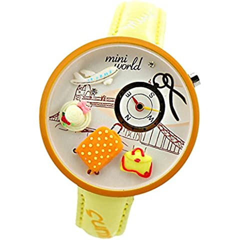 ufengke® polymerclay niños de dibujos animados 3d reloj de pulsera lindo sombrero plano bolsa reloj de pulsera para niñas