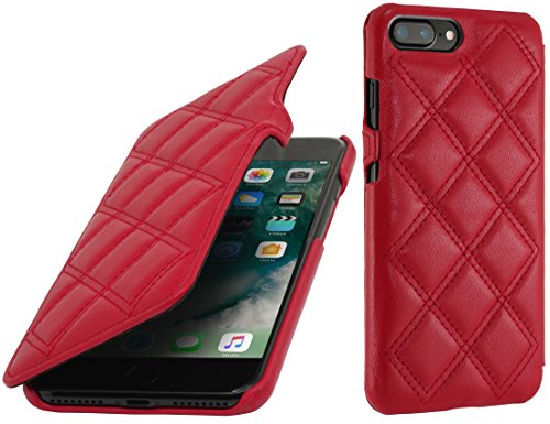 StilGut Book Type Case con clip, custodia in pelle cover per iPhone 7 Plus & iPhone 8 Plus (5,5) Chiusura a libro Flip-Case in vera pelle, Blu Scuro Nappa Rosso Nappa - Carato