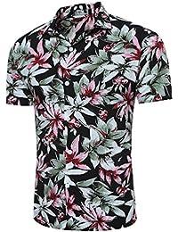 La primavera y el verano para hombres camisas, camisetas europeas, Hawai flor grande viento hombres Camiseta Manga corta