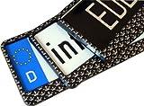 EDELSIGN - 2 x DESIGN Nummernschildhalter CROWN + 4x Chrom Valve Caps