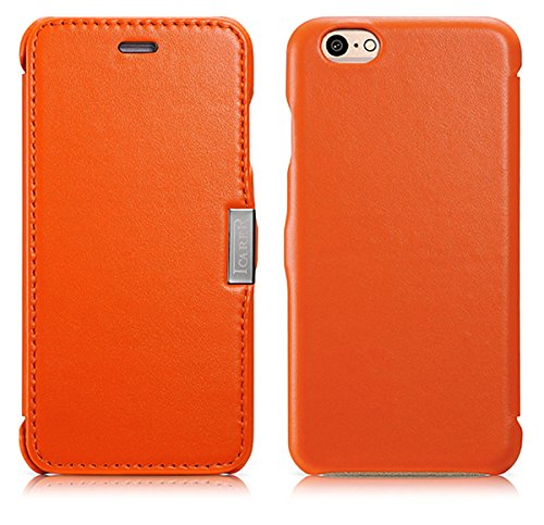 Luxus Tasche für Apple iPhone 6S und iPhone 6 (4.7 Zoll) / Case Außenseite aus Echt-Leder / Schutz-Hülle seitlich aufklappbar / ultra-slim Cover / Orange