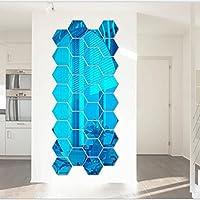 Pegatinas De Pared,PAOLIAN 12 Piezas /Conjunto 3D Espejo Desmontable Pared Pegatina HexáGono Vinilo CalcomaníA Diy Art DecoracióN (D)