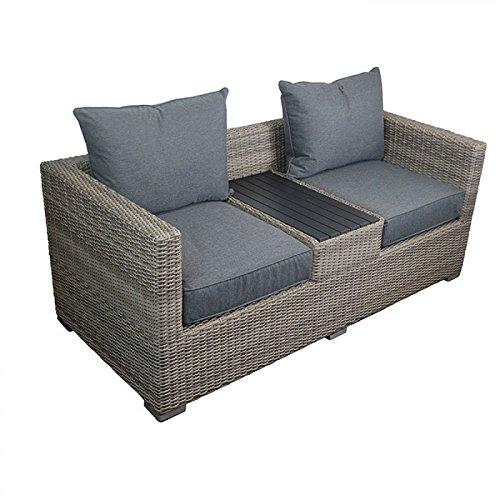Wild Garden Willow Wicker Love Seat Grey Garden Rattan Furniture