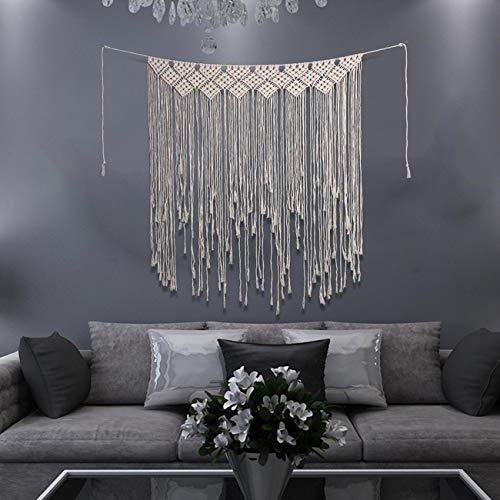 Dyna-Living Makramee Wandbehang 100 cm x 115 cm Baumwolle handgefertigt gewebt Wandteppich große Boho Hochzeit Hintergrund Wanddekoration für Wohnzimmer -
