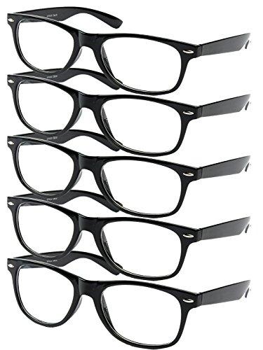 5 er Set EL-Sunprotect Klar Glas Nerdbrille Brille Nerd Sonnenbrille Hornbrille Streber