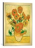kunst für alle Bild mit Bilder-Rahmen: Vincent Van Gogh Sonnenblumen - dekorativer Kunstdruck, hochwertig gerahmt, 45x60 cm, Gold gebürstet