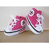 """Babyschuhe - Turnschuhe - Sneaker - """"Chucks"""" gehäkelt Schuhgröße 14/15"""