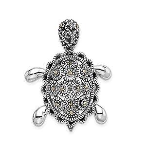 Diamond2deal 925 Sterling Silber rhodiniert Markasit Schildkrötenpin für Damen