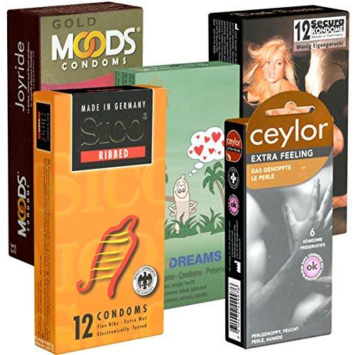 Der Kondomotheke® Peaks and Valleys Mix Nr. 3 (Secura, Amor, Sico, World's Best, Billy Boy) - Probierset! 5 Packungen Kondome, gerippt und genoppt