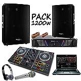 Pack sono 1200w + contrôleur party mix numark + ampli 480w + enceintes 1200w pa dj sono light led cube1512