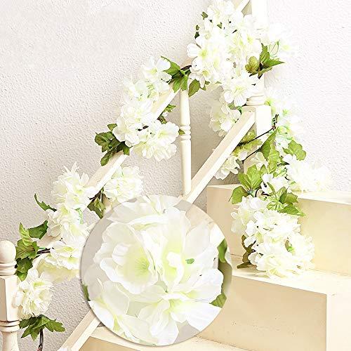 Mzming 2 x 235cm fiori di ciliegio in rattan artificiale ghirlanda corona fresh lovely di finto fiore pianta fiore foglia di vite per recinto giardino casa festa di natale nozze decorazione- bianco