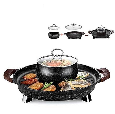 ZWZT Cuisinière à cuisson électrique coréenne 42cm Cuisinière à barbecue électrique Non-fumeur Machine à barbecue à panneaux rond à facettes ronde multifonctionnelle antiadhésive