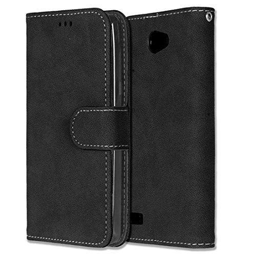Chreey LG Bello II/Bello 2 Hülle, Matt Leder Tasche Retro Handyhülle Magnet Flip Case mit Kartenfach Geldbörse Schutzhülle Etui [Schwarz]