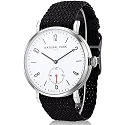 Men Sport Casual Wrist Watches with White Dial Black Nylon Watch Bands
