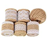 Whaline 11 Yards/ 396 Inches Natural Burlap Ribbon Rolls with Lace and 130 Feet Jute Twine for DIY Handmade Wedding Party Crafts Lace Linen