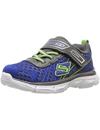 Skechers SMulticoloured sports shoe made of fabric and leather, elastic laces, Child, Boys
