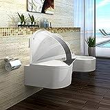 Lux-aqua STR2044 Wandhängende mit WC-Sitz, Weiß