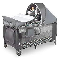 Lionelo LO-SVEN PLUS GREY SCANDI Sven 2in1 Kinder Reisebett Baby Laufstall Kinderreisebett 60 x 120, grau, 12 kg