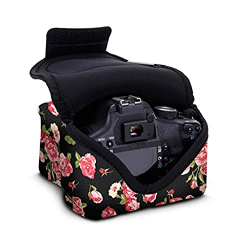 Sleeve Case For DSLR Digital Camera with Neoprene Construction , Storage for Accessories & Strap Openings by USA GEAR - For Canon EOS 1300D , 1200D , 750D , 700D / Nikon D3300 , D3400 , D5300 / Pentax & More - Floral