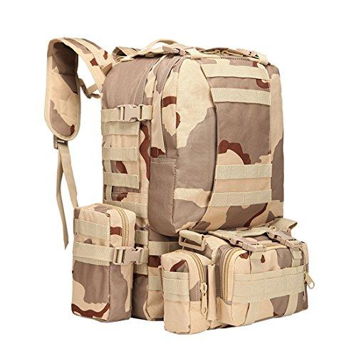 Zaino borsa combinata con 3molle smontabile Bags/militare, zaino militare, zaino militare, zaino militare, camouflage zaino, zaino tattico per campeggio, trekking 55L, Camouflage-3 Camouflage-2