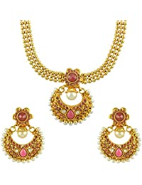Dancing Girl 1 Gram Gold Jewellery Maroon Red Copper Alloy Necklace Sets Jewellery Sets For Women