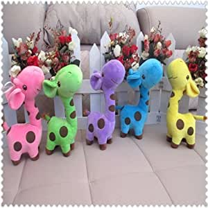 Peluche girafe - Couleur vert anis - Pour bébés enfants