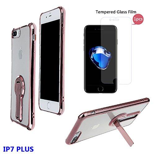 """xhorizon FM8 Elegant Transparent TPU Weich 360 Grad Drehende Kickstand Überzug Case Cover für iPhone 7 Plus [5.5""""] (Golden) Rose-gold Mit einem 9H gehärtetem Glasfilm"""