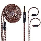 Câble d'écouteur de cuivre plaqué par argent de 8 noyaux, fil d'écouteur de rechange de mise à niveau de Brown 2PIN pour KZ ZST ZS6 ZS7 TRN V80 V30 TFZ CCA C10 (Fiche 3.5mm)