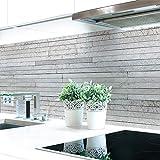 Küchenrückwand Steinschichten Grau Premium Hart-PVC 0,4 mm selbstklebend - Direkt auf die Fliesen, Größe:400 x 60 cm