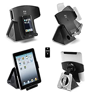 Lenco 2.1 Speaker System iPad 1 2 3 / iPhone 4 4S 3G 3GS / iPod Rotating Speaker Dock Docking Station Movie Stand Cradle Charger Charging - Touch 1G 2G 3G 4G Nano 1G 2G 3G 4G 5G 6G Video Classic with Wireless Remote Control