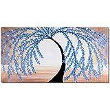 Raybre Art® 100% Pintada a mano sobre Lienzo 50 x 100cm - Pintura al óleo Abstracta Árboles Cuadros Modernos Grandes Azul Negro y Rojo Paisajes Natural para Arte Pared Decoración Hogar Sala Cocina Dormitorio, Sin bastidor (Azul)