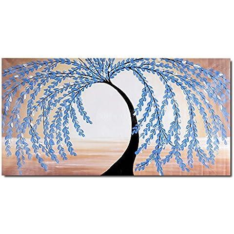 Raybre Art® 100% Pintada a mano sobre Lienzo 50 x 100cm - Pintura al óleo Árboles Cuadros Abstractos Modernos Cuadros Grandes Azul Negro y Rojo Paisajes Natural para Arte Pared Decoración Hogar Sala Cocina Dormitorio, Sin bastidor