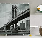tgyew New York Shower Curtain, Bridge of NYC Vintage East Hudson River Image USA Travel Top Place City Photo Art Print, Fabric Bathroom Decor Set with Hooks, 60W X 72L Inche, Grey