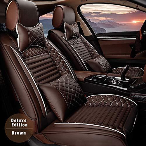 Muchkey Aktualisierte 5-Sitze Alle Jahreszeiten Leder Auto Sitzbezügesets Autositzauflage wasserdicht für Audi Q2 Q3 Q5 Q7 TT R8 RS e-tron mit Kopfstütze Nackenkissen & Rückenkissen Stil A braun
