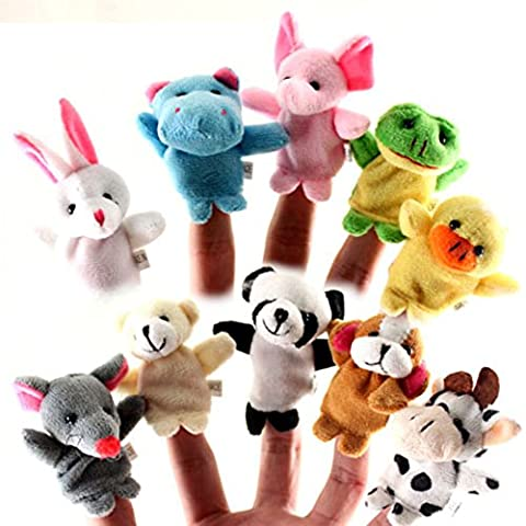 Kingtoys@ 10pcs Cartoon Animal Plush Finger Puppets Animal Dolls pour Children Kids
