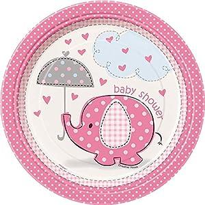 Unique Party- Platos de Papel Baby Shower con Elefante, 8 Unidades, Color rosa, 17.1 cm (41654)
