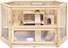 Songmics Nueva Jaula de madera para roedores 4 niveles Casa para hamster e animales pequeños PHC003
