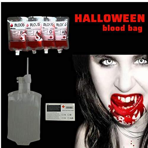 ansparent Blutkonserve PVC wiederverwendbares Blut Energy Drink-Tasche Halloween-Dekoration Vampir Props Horror Party Supplies ()