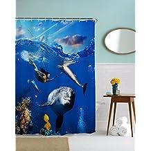 A.Monamour Sirena Natación Con Delfines En Azul Océano Coral Pez Marino Vida Impresión Impermeable Moho Resistente Tela Poliéster Cortinas De Ducha De Tela Poliester Antimoho Para Decoración De Baño 180X180 Cm / 72X72 Pulgadas