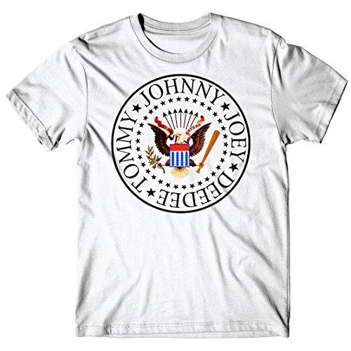 Herren-T-Shirt Ramones - Round Logo - 100% baumwolle LaMAGLIERIA Weiß