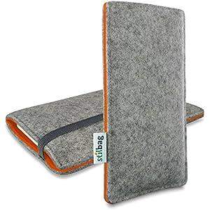 Stilbag maßgeschneiderte Handyhülle FINN - Anfertigung für Smartphones mit Case möglich | Farbe: hellgrau-orange | Smartphone-Tasche aus Filz | Handy Schutzhülle | Handytasche Made in Germany