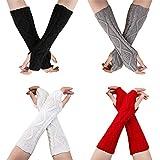 Pinacis Fingerlose Handschuhe 4 Paar Damen Winter Gestrickte Fäustlinge Armstulpen lang