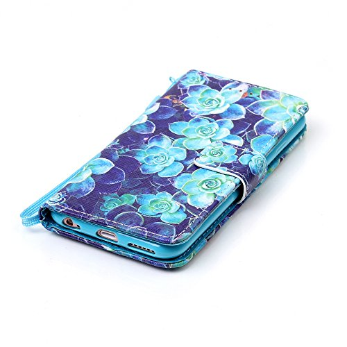 "Etsue Leder Brieftasche Hülle für iPhone 6 Plus/6S Plus 5.5"" Lanyard Ledertasche Handyhülle [Embossing Mandala Floral Blumen Muster], Retro Flip Case Wallet Cover Bookstyle Handytasche Handy Schutz Hü Grün Blume"