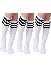 Aisprts 3 pares de calcetines largos a rayas para mujeres rodilla muslo calcetines altos